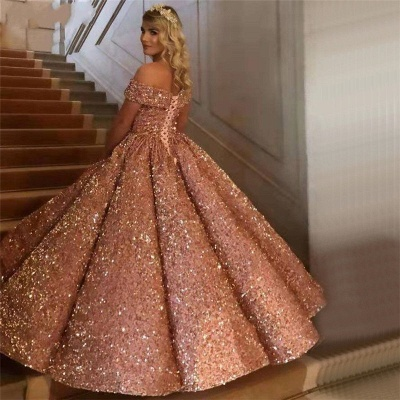 Sparkly Sweetheart Off The Shoulder Ball Gown Wedding Dresses | Sequin Puffy Bridal Gown_16