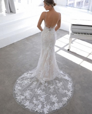 Simple Style Spaghetti Strap V Neck Applique Lace Sheath Wedding Dresses With Detachable Skirt_4