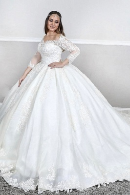 Plus Size Bateau Long Sleeve Applique Ball Gown Puffy Wedding Dresses_1
