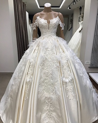 Ball-Gown Off-the-shoulder Satin Appliques Amazing Feathers Wedding Dresses_4