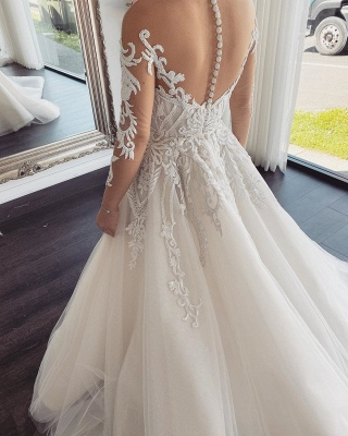Sexy Jewel Nude Sheer Back Long Sleeve Applique Pleated A Line Wedding Dresses_2