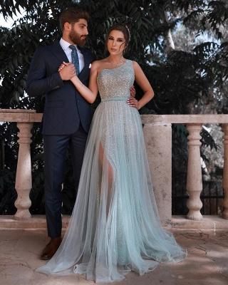 One Shoulder Sequin Side Slit Sash A Line Prom Dresses | Floor Length Evening Dresses_2