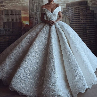 Luxury Off The Shoulder Sweetheart Applique Crystal Ball Gown Wedding Dresses | Puffy Wedding Gown_2
