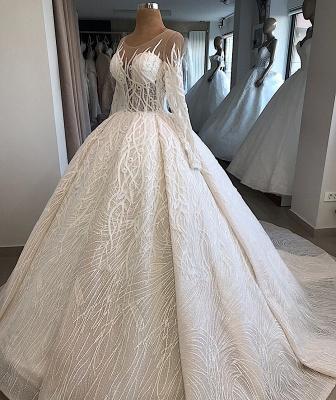 Ball-Gown Scoop Elegant Long-Sleeves Wedding Dresses_2