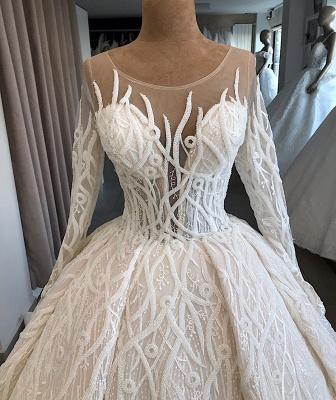 Ball-Gown Scoop Elegant Long-Sleeves Wedding Dresses_4
