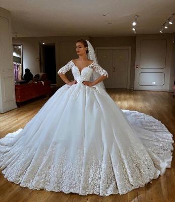 Princess Off The Shoulder Half Sleeve Applique Sequin Ball Gown Wedding Dresses_1