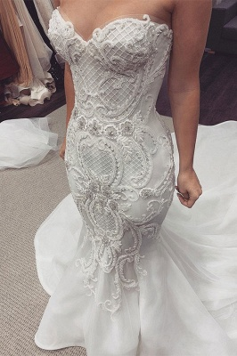 Sexy Sweetheart Backless Applique Lace Fitted Mermaid Wedding Dresses_1