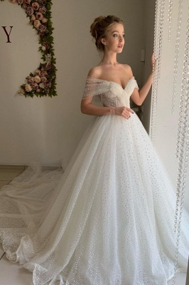 Chic Off The Shoulder Sweetheart Sequin A Line Wedding Dresses | Tulle Bridal Gown_1