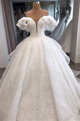 White Sequined Alluring Off-the-shoulder Beaded Ball-Gown Wedding Dresses_1