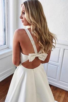Bowknot V-neck A-line Charming Wedding Dresses_2