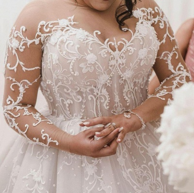 Plus Size Long Sleeve Applique Ball Gown Wedding Dresses | Pearls Puffy Wedding Gown_2