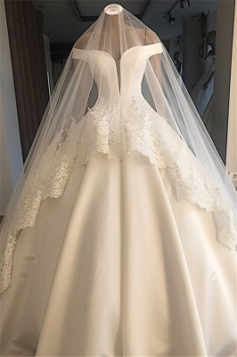 Excellent Appliques Off-the-shoulder Ball-Gown Wedding Dresses_1