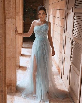 One Shoulder Sequin Side Slit Sash A Line Prom Dresses | Floor Length Evening Dresses_4