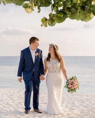 Jewel Applique Sheath Wedding Dresses | Sheath Beach Wedding Gown_2