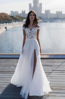 Simple Jewel Cap Sleeve Applique Front Slit Tulle A Line  Beach Wedding Dresses_1