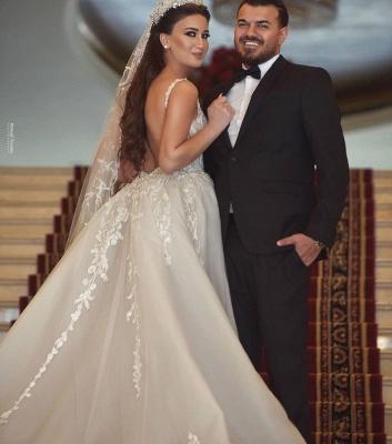 Sexy Straps V Neck Floral Sheath Wedding Dresses | Backless Detachable Train Bridal Gown_3