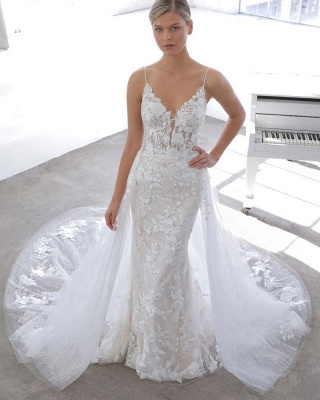 Simple Style Spaghetti Strap V Neck Applique Lace Sheath Wedding Dresses With Detachable Skirt_1