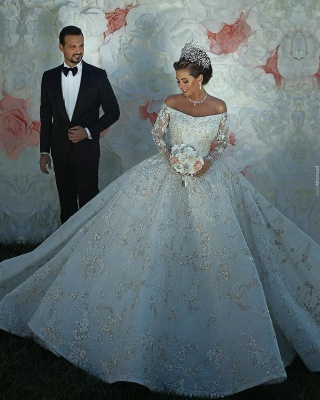 Luxury Off The Shoulder Long Sleeve Sequin Puffy Ball Gown Wedding Dresses | Sequin Floral Bridal Gown_5
