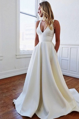 Bowknot V-neck A-line Charming Wedding Dresses_1