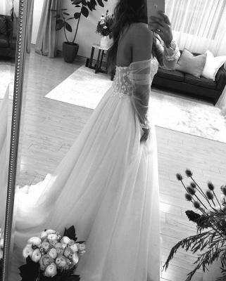 Off The Shoulder Applique A Line Wedding Dresses | Floor Length Summer Beach Wedding Gown_3