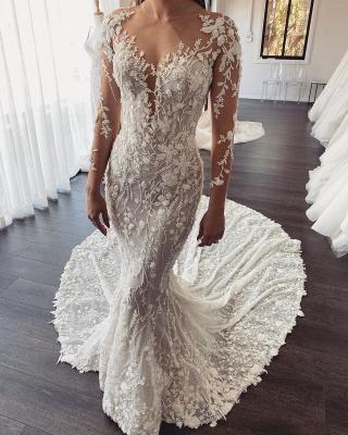 Elegant Jewel Long Sleeve Sheer Back Lace Floral Fitted Mermaid Wedding Dresses_1