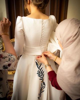 Royal Jewel Long Sleeve A Line Wedding Dresses | Sash Bow Wedding Gown_2
