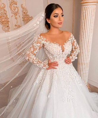 Royal Jewel Long Sleeve Floral Ball Gown Wedding Dresses | Sequin Puffy Bridal Gown_3