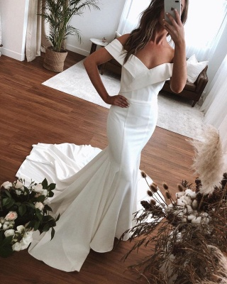 Unqiue Off The Shoulder Sweetheart Fit And Falre Mermaid Wedding Dresses_3