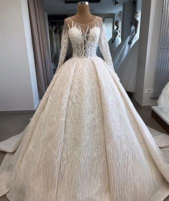 Ball-Gown Scoop Elegant Long-Sleeves Wedding Dresses_3