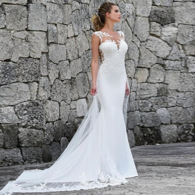 Elegant Jewel Straps Lace Fitted Mermaid Detachable Train Wedding Dresses_4