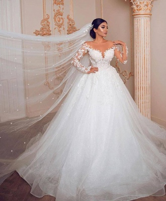 Royal Jewel Long Sleeve Floral Ball Gown Wedding Dresses | Sequin Puffy Bridal Gown_2
