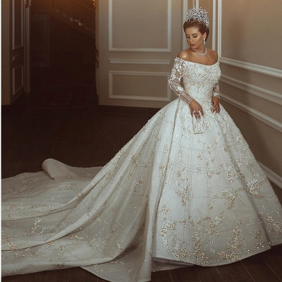 Luxury Off The Shoulder Long Sleeve Sequin Puffy Ball Gown Wedding Dresses | Sequin Floral Bridal Gown_2