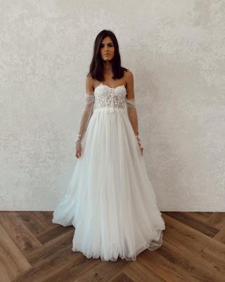 Off The Shoulder Applique A Line Wedding Dresses | Floor Length Summer Beach Wedding Gown_4