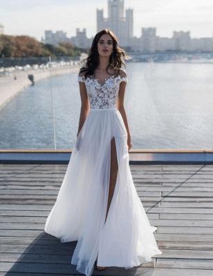 Simple Jewel Cap Sleeve Applique Front Slit Tulle A Line  Beach Wedding Dresses_3
