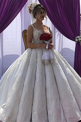 V-neck Straps Appliques A-line Sleeveless Fascinating Wedding Dresses_1