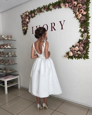 Sexy Straps V Neck A Line Wedding Dresses   Tea Legnth Wedding Gown_2