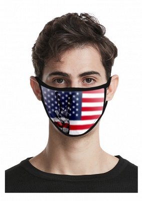 10PCS US Flag Print Mask Face Mask Headband Washable Face Mask