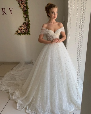 Chic Off The Shoulder Sweetheart Sequin A Line Wedding Dresses | Tulle Bridal Gown_3