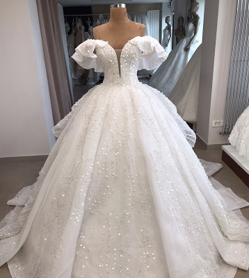 White Sequined Alluring Off-the-shoulder Beaded Ball-Gown Wedding Dresses_2
