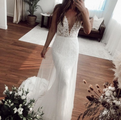 Straps Sweetheart Applique  Fitted Tulle Detachable Skirt Mermaid Wedding Dresses_3