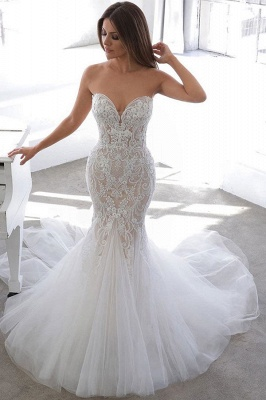 Sexy Sweetheart V Neck Backless Applique Lace Fitted Mermaid Wedding Dresses_1