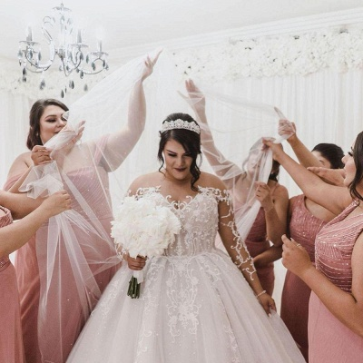Plus Size Long Sleeve Applique Ball Gown Wedding Dresses | Pearls Puffy Wedding Gown_3