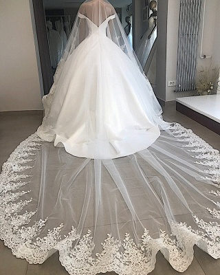 Excellent Appliques Off-the-shoulder Ball-Gown Wedding Dresses_2