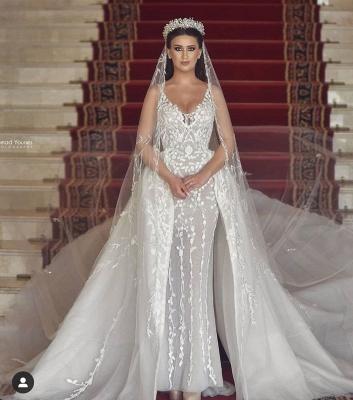 Sexy Straps V Neck Floral Sheath Wedding Dresses | Backless Detachable Train Bridal Gown_5