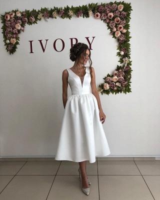 Sexy Straps V Neck A Line Wedding Dresses   Tea Legnth Wedding Gown_3