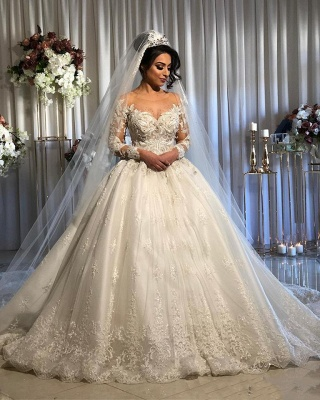 Jewel Lace Ball Gown Wedding Dresses with Sleeves | Timeless Puffy Bridal Gown_2