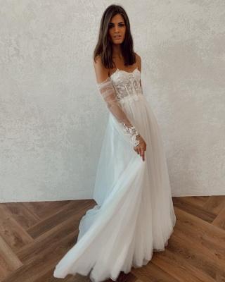 Off The Shoulder Applique A Line Wedding Dresses | Floor Length Summer Beach Wedding Gown_2