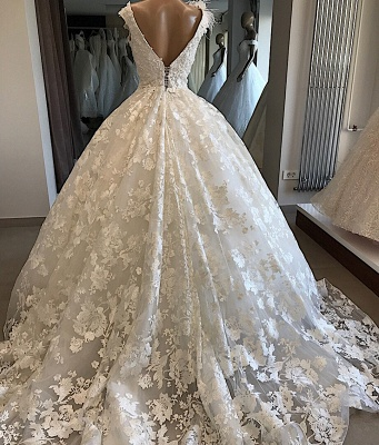 Appliques V-neck Alluring Feathers Ball-Gown Wedding Dresses_2
