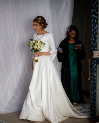 Royal Jewel Long Sleeve A Line Wedding Dresses | Sash Bow Wedding Gown_5