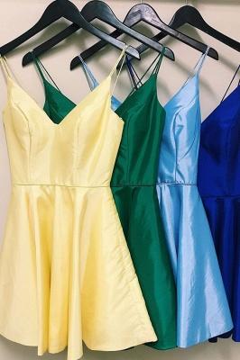 V-neck Spaghetti-Straps Cute A-Line Homecoming Dresses_3